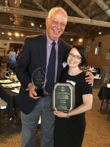 Bill Whalen,2017 Professionalism Award winner, and Jaclyn Kiger, 2017 Distinguished Young Lawyer Award winner.
